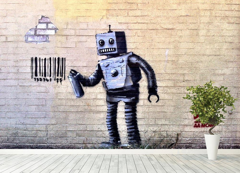 Banksy Robot Wall Mural Wallpaper - Canvas Art Rocks - 4