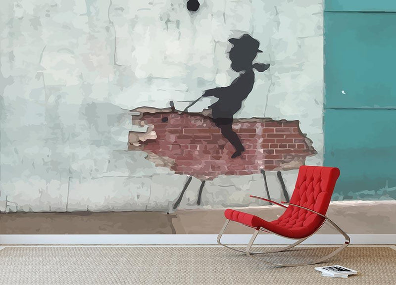 Banksy Rodeo Boy Wall Mural Wallpaper - Canvas Art Rocks - 1