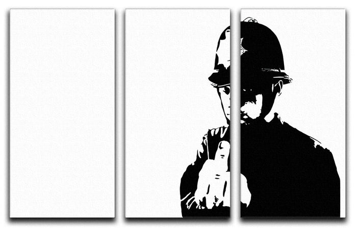 Banksy Rude Policeman 3 Split Panel Canvas Print