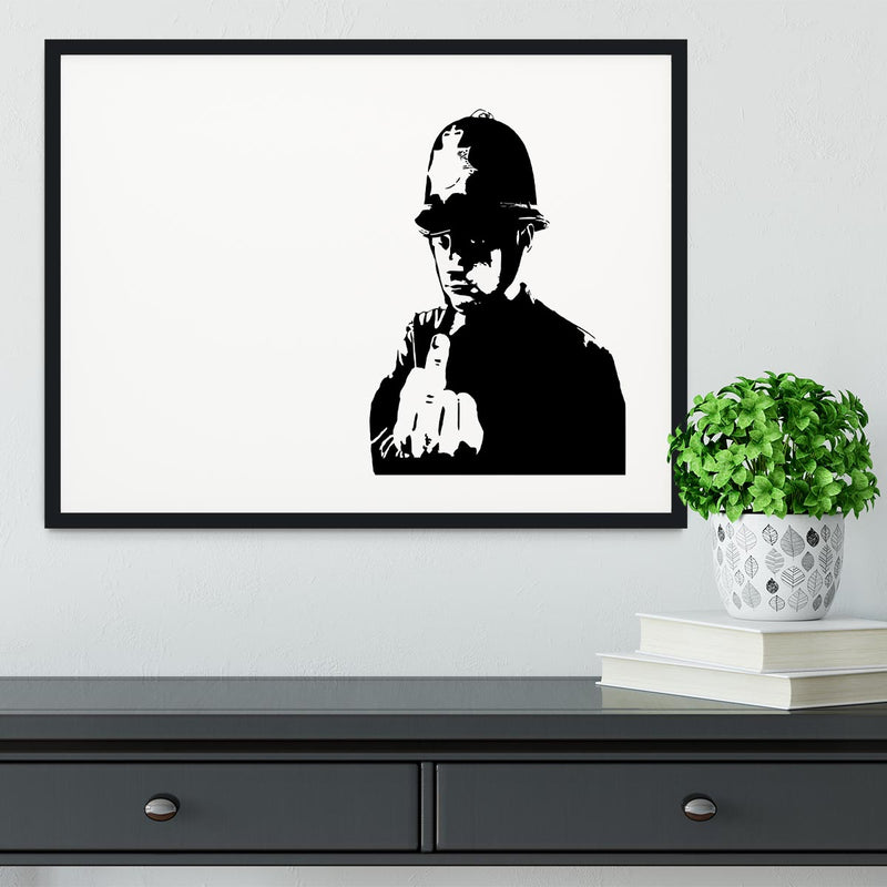 Banksy Rude Policeman Framed Print - Canvas Art Rocks - 1