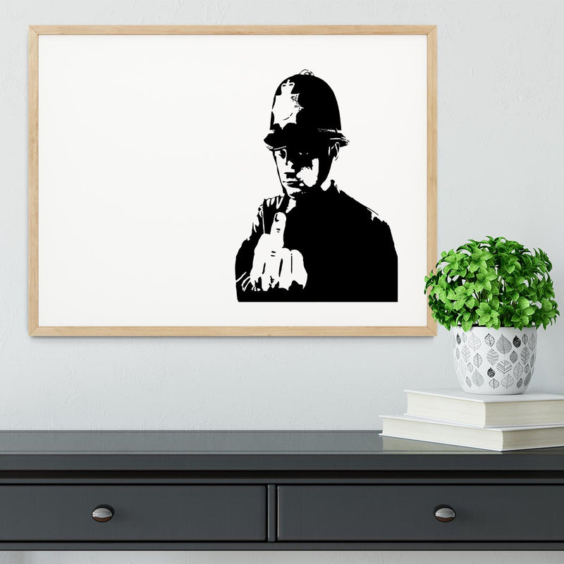 Banksy Rude Policeman Framed Print - Canvas Art Rocks - 3