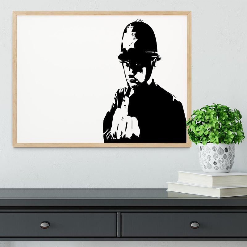 Banksy Rude Policeman Framed Print - Canvas Art Rocks - 4