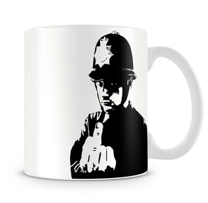 Banksy Rude Policeman Mug - Canvas Art Rocks