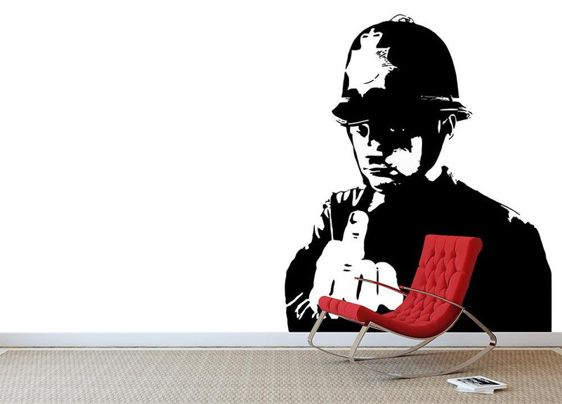 Banksy Rude Policeman Wall Mural Wallpaper - Canvas Art Rocks - 1
