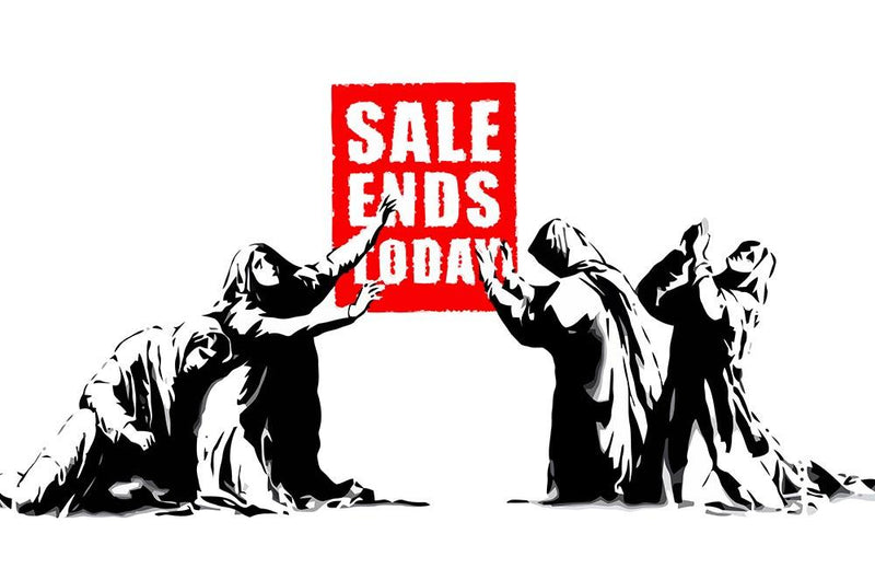 Banksy Sale Ends Today Wall Mural Wallpaper - Canvas Art Rocks - 1