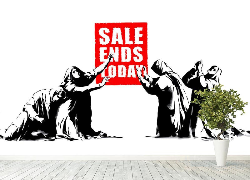 Banksy Sale Ends Today Wall Mural Wallpaper - Canvas Art Rocks - 4