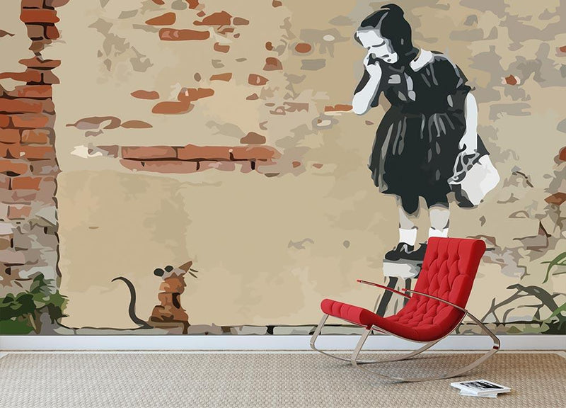 Banksy School Girl Mouse Wall Mural Wallpaper - Canvas Art Rocks - 1