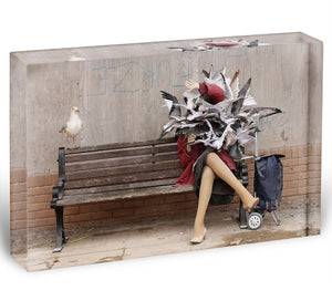 Banksy Seagulls Acrylic Block - Canvas Art Rocks - 1