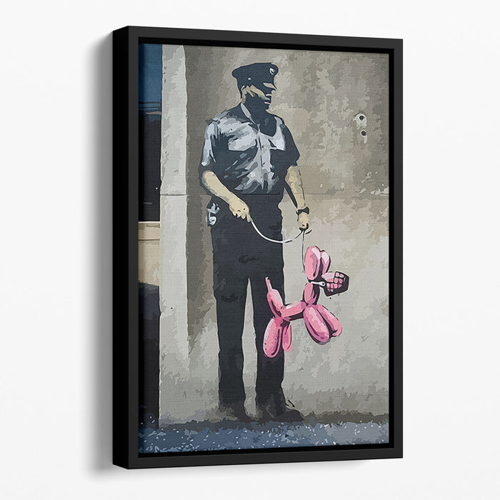 Banksy Security Guard With Pink Balloon Dog Floating Framed Canvas
