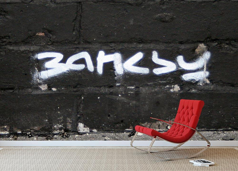 Banksy Signature Tag Wall Mural Wallpaper - Canvas Art Rocks - 1