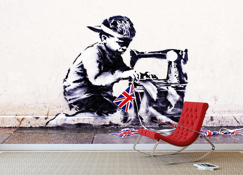 Banksy Slave Labour Wall Mural Wallpaper - Canvas Art Rocks - 1