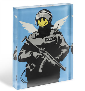 Banksy Smiley Angel Policeman Acrylic Block - Canvas Art Rocks - 1