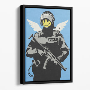 Banksy Smiley Angel Policeman Floating Framed Canvas