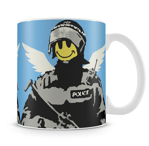 Banksy Smiley Angel Policeman Mug