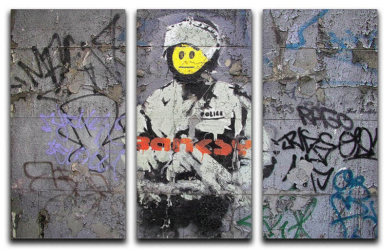 Banksy Smiley Riot Cop 3 Split Panel Canvas Print - Canvas Art Rocks