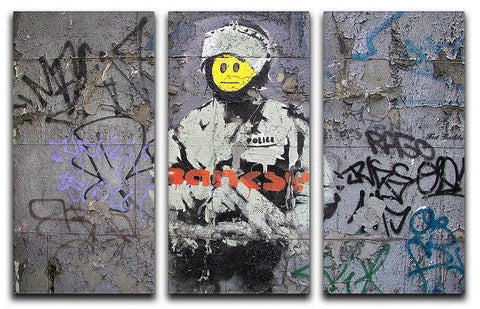 Banksy Smiley Riot Cop 3 Split Panel Canvas Print