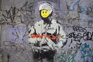 Banksy Smiley Riot Cop Wall Mural Wallpaper - Canvas Art Rocks - 1