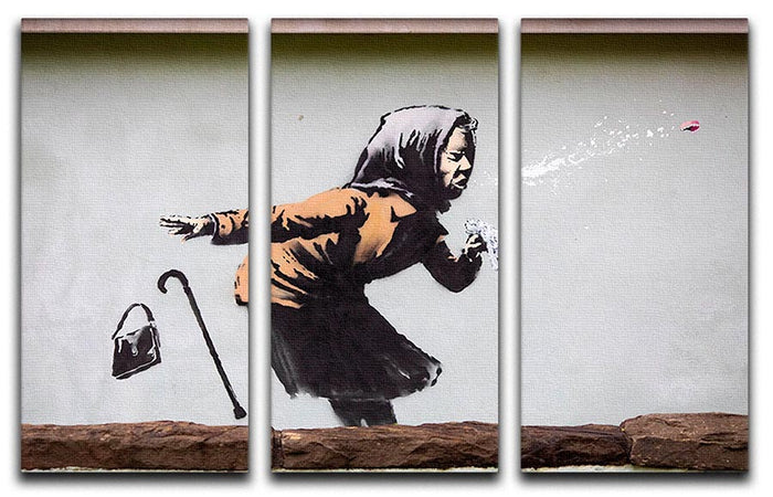 Banksy Sneezing Woman 3 Split Panel Canvas Print