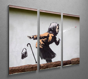 Banksy Sneezing Woman 3 Split Panel Canvas Print - Canvas Art Rocks - 2