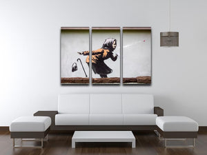 Banksy Sneezing Woman 3 Split Panel Canvas Print - Canvas Art Rocks - 3