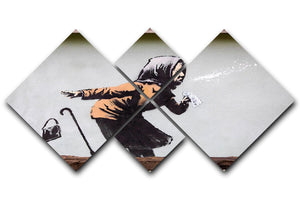 Banksy Sneezing Woman 4 Square Multi Panel Canvas - Canvas Art Rocks - 1