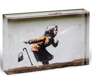 Banksy Sneezing Woman Acrylic Block - Canvas Art Rocks - 1