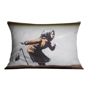 Banksy Sneezing Woman Cushion - Canvas Art Rocks - 4