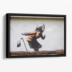 Banksy Sneezing Woman Floating Framed Canvas - Canvas Art Rocks - 1