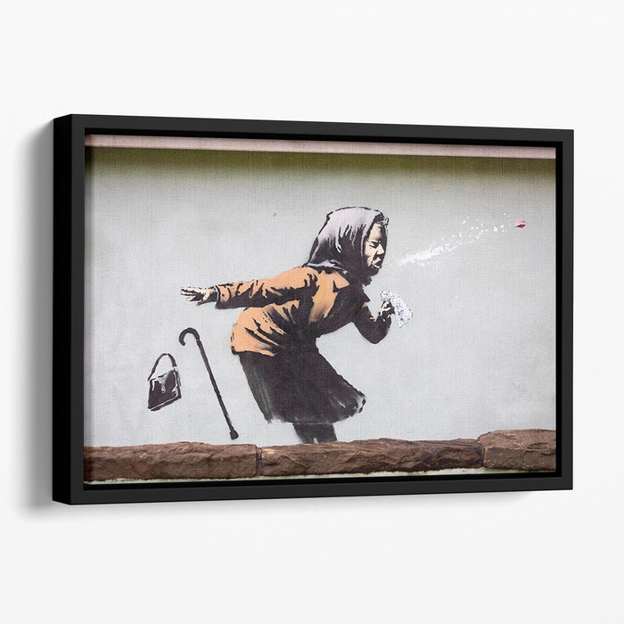 Banksy Sneezing Woman Floating Framed Canvas