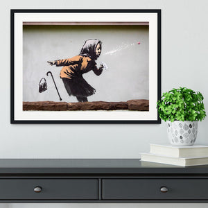 Banksy Sneezing Woman Framed Print - Canvas Art Rocks - 1
