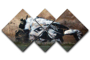 Banksy Snorting Policeman 4 Square Multi Panel Canvas  - Canvas Art Rocks - 1