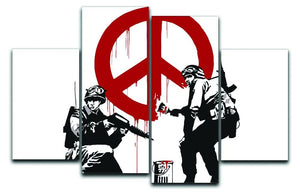 Banksy Soldiers Painting CND Sign 4 Split Panel Canvas  - Canvas Art Rocks - 1