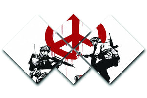 Banksy Soldiers Painting CND Sign 4 Square Multi Panel Canvas  - Canvas Art Rocks - 1