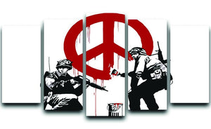 Banksy Soldiers Painting CND Sign 5 Split Panel Canvas  - Canvas Art Rocks - 1