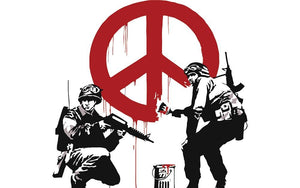 Banksy Soldiers Painting CND Sign Wall Mural Wallpaper - Canvas Art Rocks - 1