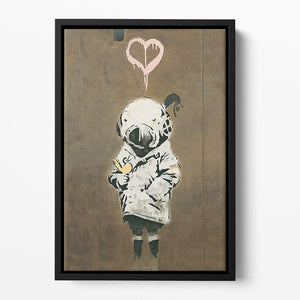 Banksy Space Girl And Bird Floating Framed Canvas