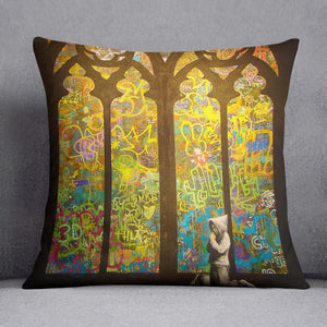 Banksy Stained Glass Window Cushion