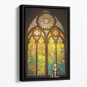 Banksy Stained Glass Window Floating Framed Canvas
