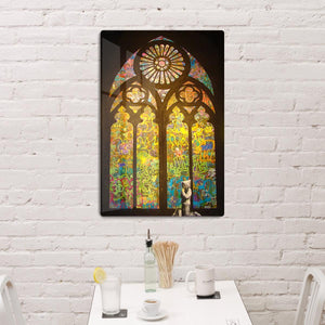 Banksy Stained Glass Window HD Metal Print