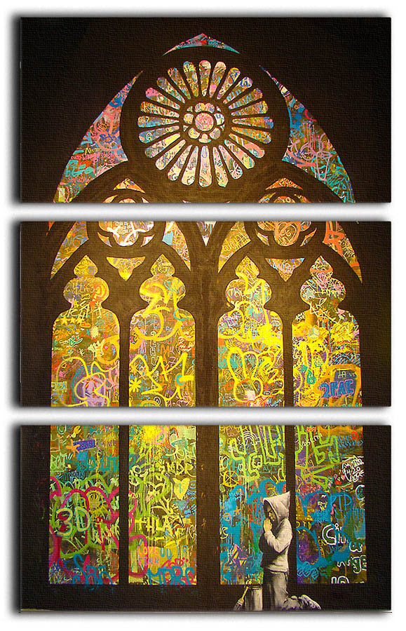 Banksy Stained Glass Window 3 Split Canvas Print - Canvas Art Rocks