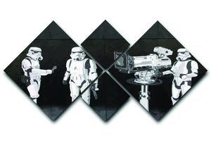 Banksy Stormtroopers Filming Oscars 4 Square Multi Panel Canvas  - Canvas Art Rocks - 1