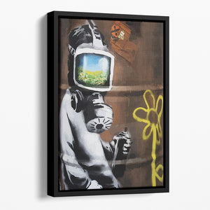 Banksy Sunflower Field Gas Mask Floating Framed Canvas