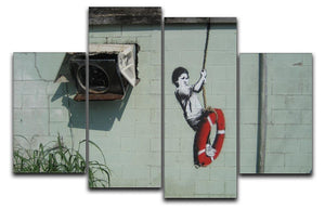 Banksy Swing Boy 4 Split Panel Canvas  - Canvas Art Rocks - 1