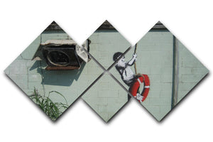 Banksy Swing Boy 4 Square Multi Panel Canvas  - Canvas Art Rocks - 1