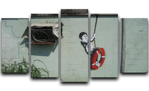 Banksy Swing Boy 5 Split Panel Canvas  - Canvas Art Rocks - 1
