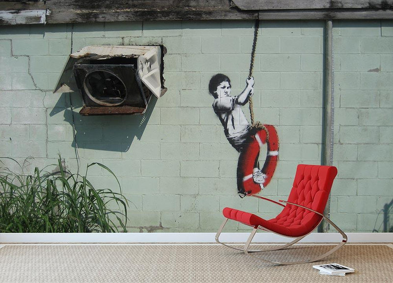 Banksy Swing Boy Wall Mural Wallpaper - Canvas Art Rocks - 1