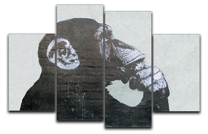 Banksy The Thinker Monkey 4 Split Panel Canvas  - Canvas Art Rocks - 1