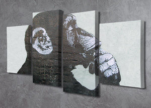 Banksy The Thinker Monkey 4 Split Panel Canvas - Canvas Art Rocks - 2