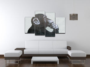 Banksy The Thinker Monkey 4 Split Panel Canvas - Canvas Art Rocks - 3