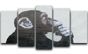 Banksy The Thinker Monkey 5 Split Panel Canvas  - Canvas Art Rocks - 1
